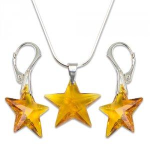 Strieborná sada s krištáľmi Swarovski Star Topás 496405 32d45c77156