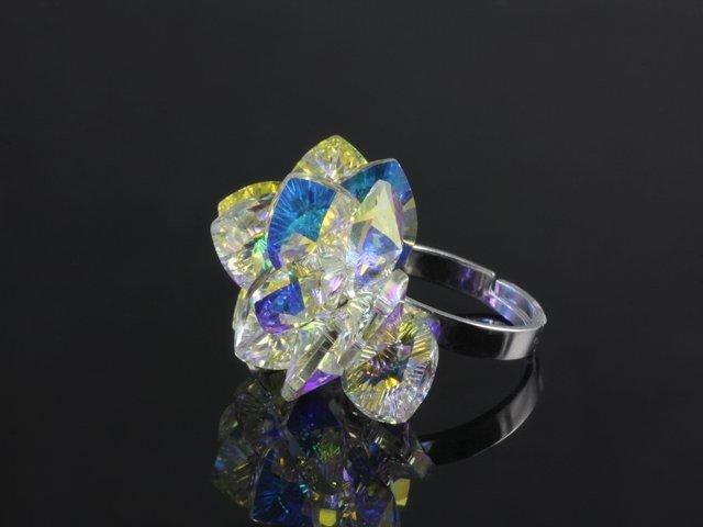 Strieborný prsteň s 13 krištáľovými srdiečkami Swarovski Elements  farba   AB crystal 77f8b212aa2