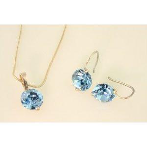 fce259056 Súprava náhrdelníka a náušníc s guľatým krištáľom, farba: aquamarine