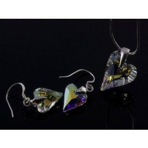 Strieborná súprava divoké srdcia  farba  AB crystal b010282c95b