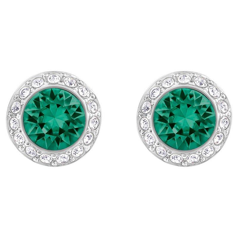 c339d5106 Swarovski náušnice ANGELIC - rhodiovaný kov, zelené a číre kryštály 5267105