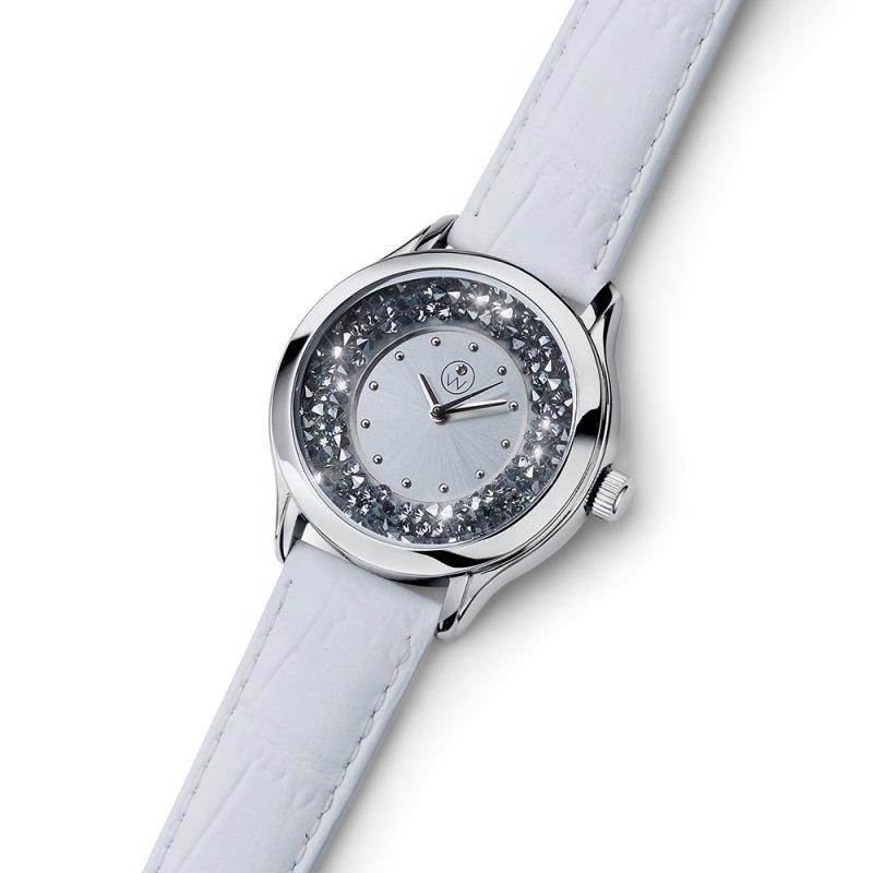 15bcbe920 Dámske hodinky s krištáľmi Swarovski Oliver Weber Rocks Steel white  Leatherstrap