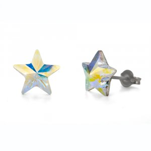 Náušnice Oliver Weber so Swarovski krištáľmi Sensitive PE Star CRY